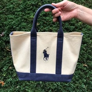 NAVY/BEIGE POLO RALPH LAUREN SMALL TOTE BAG PURSE
